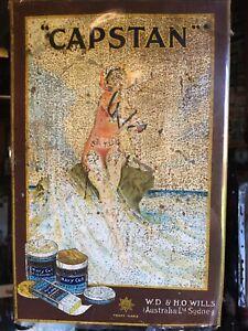 Early Rare Capstan Tobacco Tin Metal Shop Display Sign
