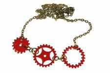 esmaltado zahnradkette Rueda de muescas Collar 3er Rojo Steampunk esmaltado 60cm
