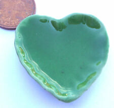 1:12 Scale Small Green Ceramic Heart Dish 2.5cm Tumdee Dolls House Accessory G20