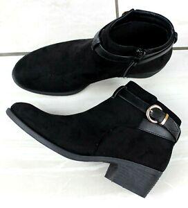 Womens Black Ankle Chelsea Boots Ladies Block Heels Low Flats Buckle Shoes Size