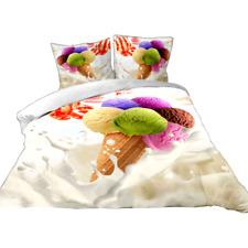 """Parure de lit housse de couette 3D 200x200 (4 pcs) 2 personnes """"cornet de glace"""""""