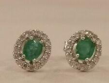 Emerald & Diamond Cluster Earrings  9ct white gold rrp £695