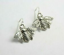 """Bee Insect Charm Earrings .925 sterling silver hooks pewter 1"""" charms Bees Bugs"""