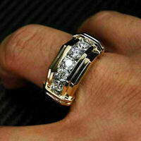 Men's 5 Stone Wedding Band Ring 1 Ct Round Cut Diamond 10K Yellow Gold Finish