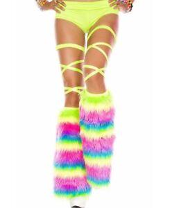 Rainbow Faux Fur Knee High Leg Warmers - Music Legs 5541
