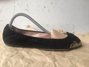 MIU MIU Women's Black Suede Metal Cap Toe Ballet Flats Shoes Sz 36,5 Used