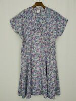 Vintage | Made in England | 3/4 Button Down Fit & Flare Dress | Sz 18 | Floral
