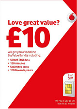 ✔Vodafone Pay As You Go Prepay SIM Card ✔ Fits all devices ✔ (Nano/Mini/Regular)