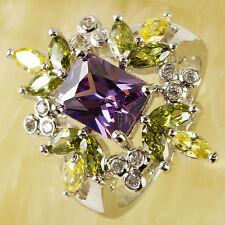 Emerald Cut Amethyst Citrine Peridot & White Topaz Gemstone Silver Ring Size P