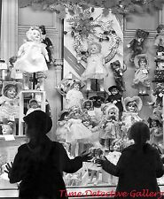 Dolls in a Christmas Window - 1930s - Vintage Photo Print