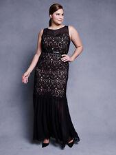 Lela Rose for Lane Bryant Black Chiffon and Lace Mermaid Dress, Size 18, NWT