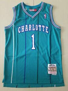 New Charlotte Hornets #1 Muggsy Bogues Men's green Retro basketball Jersey S-XXL
