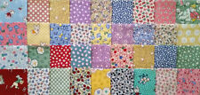 "36 Aunt Grace 1930's Repro 3"" Quilt Block Fabric Squares - from 1990's fabrics!"