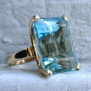 Natural Aquamarine Diamond Ring 14K Yellow Gold Women's Jewelry Big Engagement