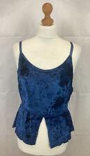 Jordash Boho Gothic Blue Embroidered Crushed Velvet Vest Top Free Size