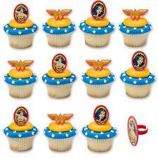 WONDER WOMAN SUPERHERO GIRL PARTY CUPCAKE CAKE RINGS DECORATIONS PACK OF 12