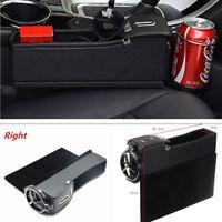 Car Seat Gap Slit Filler Pocket Catcher Cup Storage Organizer PU Coin Box BLACK