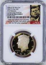 2021 S Proof Kennedy Half Dollar 50c NGC PF69 UC FR 7-Coin-Clad-PF-SET Version