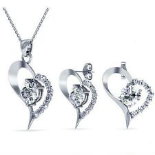18K White Gold Plated Heart Pendant Necklace & Earring Set Swarovski CERTIFIED