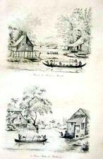 PHILIPPINES - MANILA - PASIG RIVER - BOATS - HOUSES Original 1834 Antique Print