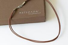 Silpada Brown Leather Sterling Silver Two Double Strand Necklace N1129