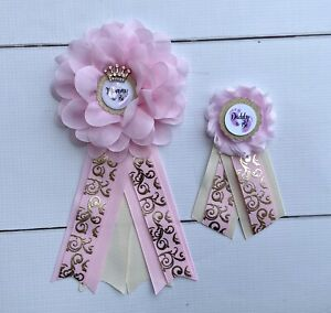 Pink And Gold Princess Baby Shower Corsage ,Mommy & Daddy Corsage Set