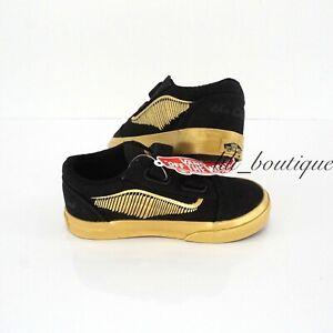 New Vans x Harry Potter Old Skool V Shoes Canvas Golden Snitch Black Toddler 7.5