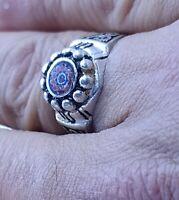 perle verre Bague chevron  amazigh artisanat maroc - berber ring craft Morocco