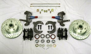 """Mustang II Front Disc Brake Kit 11"""" Rotors Ford + 2"""" Drop Spindles SS Lines"""