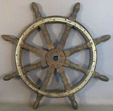 """28"""" Antique NAUTICAL Old SHIPS WHEEL Wood MARITIME SALVAGE Beach COTTAGE Decor"""