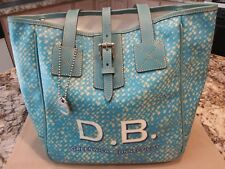 DOONEY & BOURKE SHOPPER/TOTE HANDBAG-TURQUOISE & WHITE DESIGN- UNIQUE & RARE