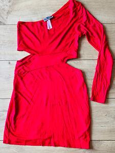 LIPSY red ONE SLEEVE open waist MINI BODYCON DRESS small