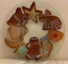 "Peggy Karr Fused Glass Signed 8 3/8"" Christmas Cookies Shallow Bowl"