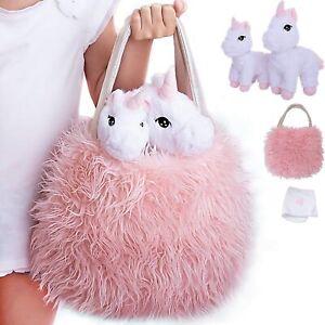 Unicorn Gift for Girls 4 Pcs Set. Baby and Mommy Unicorn Toy, XL Furry Bag