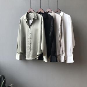 Women Faux Silk Shirt Satin Korean Tops Button Up Blouse Vintage T-Shirt