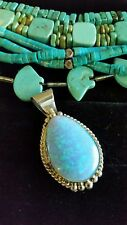 Opal Pendant Signed J Mariano Nwot Navajo Sterling Silver Large