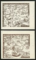 Jewish National Fund, 1950, Kaplove #1342-1353 brown, 2 Booklet Panes of 6, N.H.