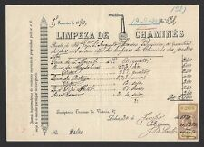 Portugal Limpeza De Chamines 1890 receipt with revenue stamp