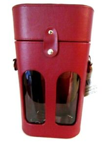Double Wine Bottle Red Leather Carrier Case Bag Holder