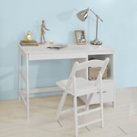SoBuy® Wood Computer Table with Side Storage Rack and Drawers,White,FWT38-W,UK