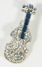 Brooch Violin Blue Crystals Silver Musical Gift String Player Present Pin Badge