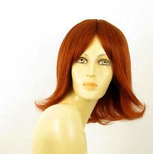 perruque femme 100% cheveux naturel longue cuivré intense ref MATHILDE 130