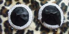 Cache-tétons nippies pasties adhésif ronds en dentelle noire bord blanc noeud