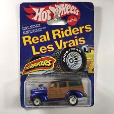 Hot Wheels 40's Woodie Real Riders International Card, White Hubs - RARE