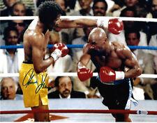 Tommy Hitman Hearns Signed 8x10 Boxing Photo Hagler Swing - Beckett BAS