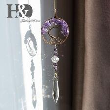 Handmade Purple Tree of Life Wire Wrap Crystal Chakra Prism Suncatacher Pendant