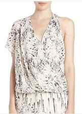 NWT Haute Hippie Printed One-Shoulder Silk Blouse  Top  Size S