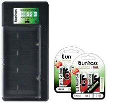 UNiROSS UNIVERSAL AA/AAA/C/D/PP3 BATTERY CHARGER+ 8 x AA 2400 HYBRIO BATTERIES
