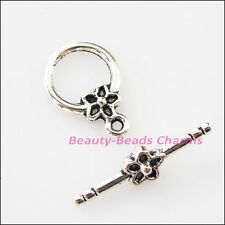 5Sets Tibetan Silver Smooth Star Flower Circle Bracelet Toggle Clasps Connectors