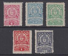 Argentina, San Juan, Forbin 176//216. 1910-12 Municipal Tax Fiscals, 5 different